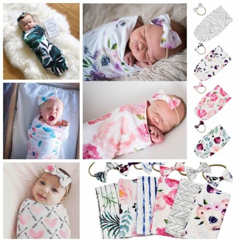 Newborn Baby Infant Floral Swaddle Sleeping Bag Sack Wrap Headband Set Photoprop
