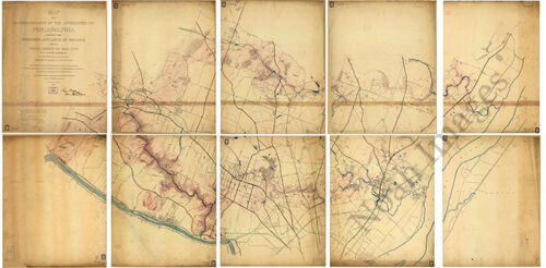 Map of a reconnaissance to Philadelphia c1863 map 36x18.5