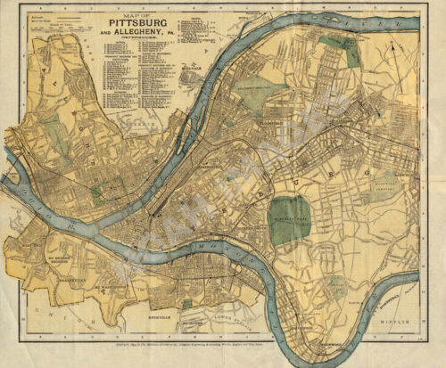 Pittsburg and Allegheny Pennsylvania c1895 map 24x20