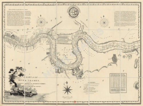 Chart of Thames River c1799 map 24x18