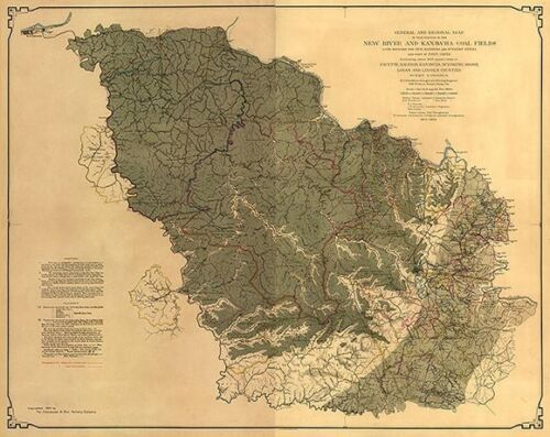 Map of New River and Kanawha coal fields WV c1905 24x30