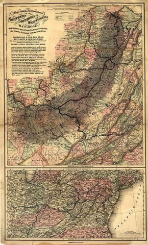 Railroad map of Northern and Southern WV c1873 36x22