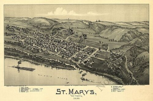 Panoramic map of St Marys WV c1899 24x36