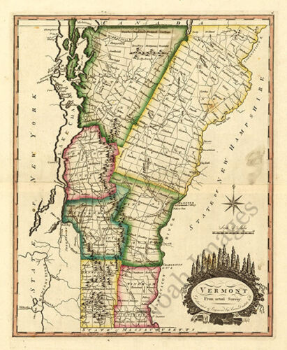 Map of Vermont c1810s map 12x16