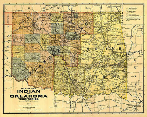 Map of the Indian and Oklahoma territories c1894 31x24
