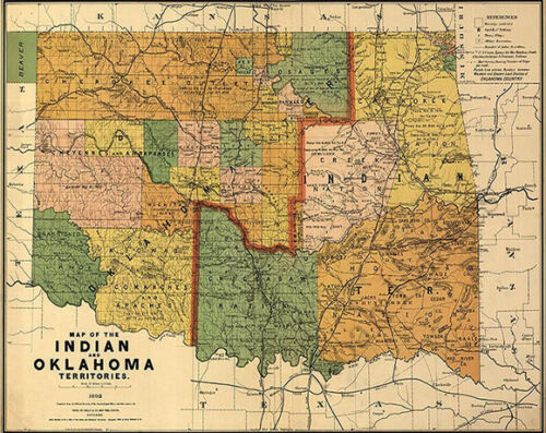 Map of the Indian and Oklahoma territories c1892 32x24