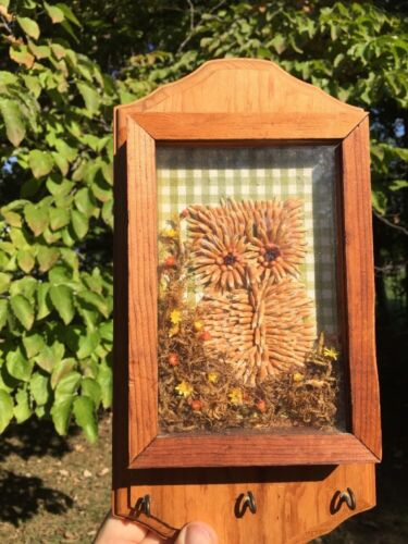 Vintage 11/6 OWL Shadow Box Key Holder Wall Art ▬ Primitive Seed Wildflower ❤️j8