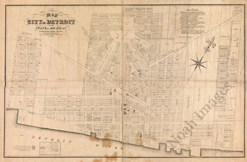 Map of city of Detroit Michigan c1835 map 36x24