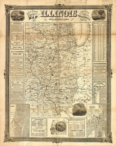 Rail road and county map of Illinois c1854 24x30