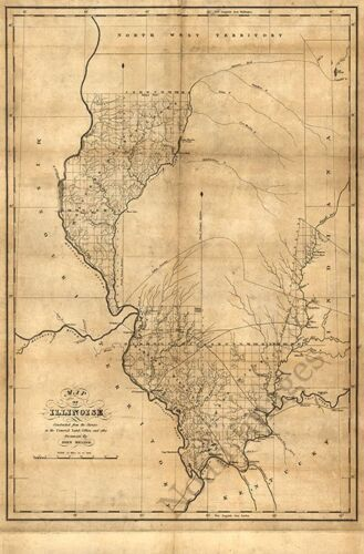 Map of Illinois c1818 map 24x36
