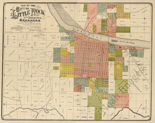 Map of Little Rock and Argenta Arkansas c1888 30x24