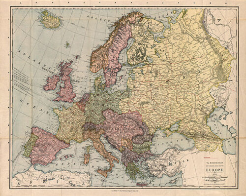Map of Europe c1912 30x24