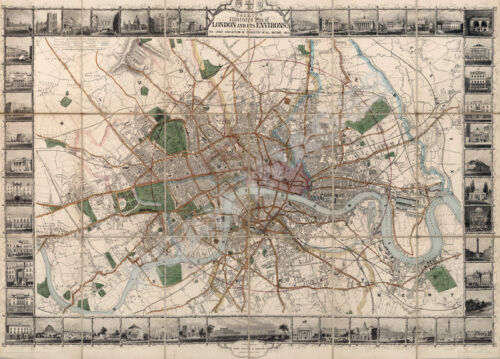 Map of London and Environs 33x24