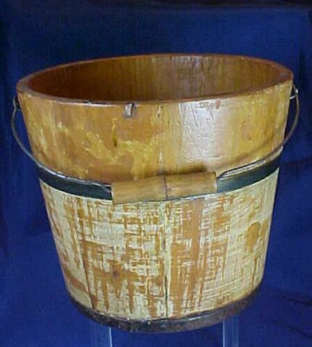 Antique Small Wood Bucket Yellow Wash Iron Bands Original Wire Wood Handle