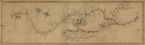 Map of the Mississippi River c1811 36x12