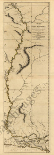 Course of the river Mississipi c1765 map 13.5x36
