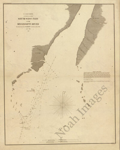 South West pass of the Mississippi River c1862 map 16x20