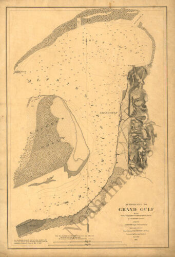 Approaches to Grand Gulf Mississippi c1864 map 16x23