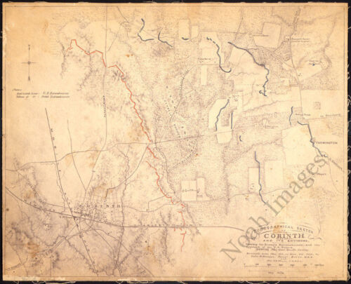 Topographical sketch of Corinth Mississippi c1862 map 20x16