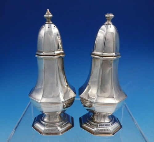 English Sterling Silver Salt and Pepper Shaker Set 2pc Octagonal Shape (#3307)