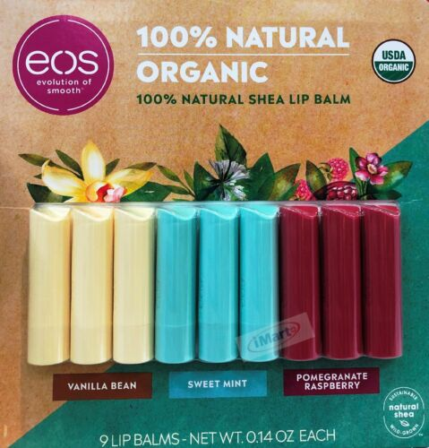 6 x EOS Evolution of Smooth Organic Lip Balm 100% Natural Value Pack