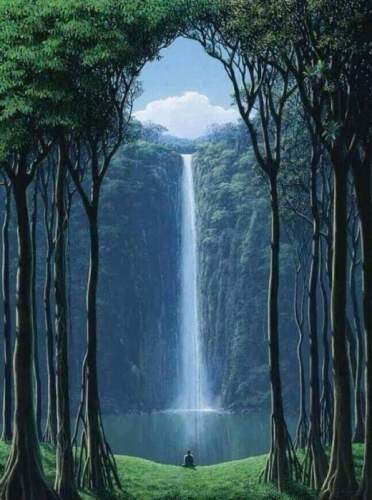 """Oil painting nice landscape The gates of nature forest with waterfall Viewer 36"""""""