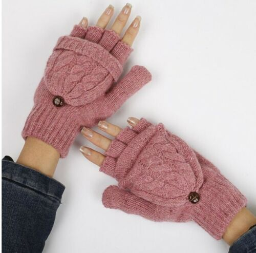 Women Girl Warm Winter Fingerless Gloves Flip Twist Gloves Mittens