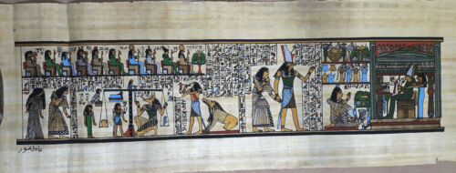 """Egyptian Papyrus  HandMade Painting,size 20x60cm (8""""x24"""") Judgement Day US#244"""