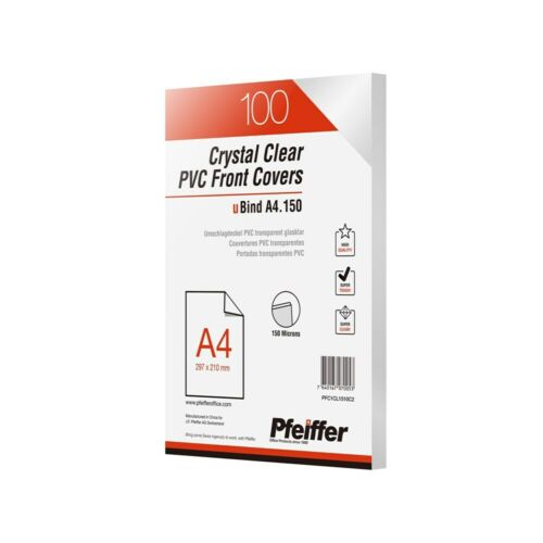 Pfeiffer Crystal Clear PVC Front Covers A4 150 mic, Pack of 100. PFC1CL1510C2