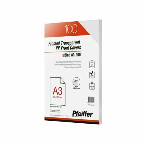 Pfeiffer Frosted Transparent PP Front Covers A3 200 mic Pack of 100 PFC3PP2010C2