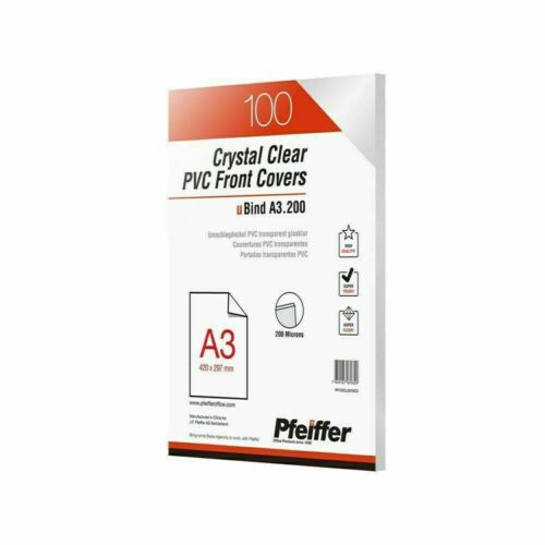 Pfeiffer Crystal Clear PVC Front Covers A3 200 mic, Pack of 100. PFC3CL2010C2