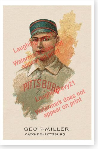 "Retro George ""Doggie"" Miller Pittsburgh Alleghenys Antique Baseball Poster"