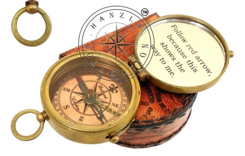 Brass Pocket Compass with Leather Case, Engravable Camping Hiking Birthday Gifts