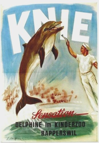 Original vintage poster KNIE CIRCUS SWISS DOLPHIN SHOW c.1950