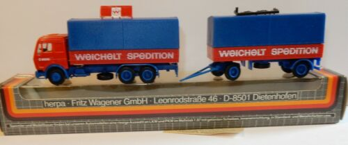 RARE HERPA HO 1/87 CAMION MB MERCEDES + REMORQUE WEICHELT SPEDITION IN BOX