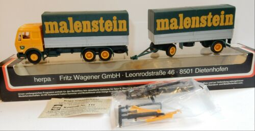 HERPA HO 1/87 CAMION MB MERCEDES + REMORQUE MALENSTEIN IN BOX