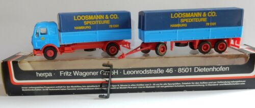 HERPA HO 1/87 CAMION MB MERCEDES + REMORQUE LOOSMANN & CO SPEDITEURE IN BOX