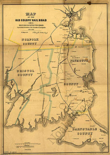 Map of the Old Colony Rail Road Massachusetts c1850 repro 16x24