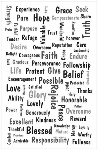 Christian Poster WORD ART from Bible Scripture, Inspirational Motivational White