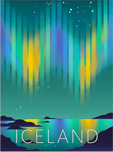 Iceland Northern Lights Retro Travel Advertisement Art Poster Print.