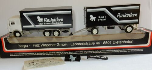 HERPA HO 1/87 CAMION MB MERCEDES + REMORQUE ROSKOTHEN ESSEN STADTMITTE IN BOX