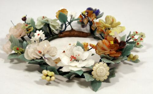 "Elegant! ""Rare Grand Carved Chinese Jade Floral Centerpiece / Wreath"" (13"" Wide)"