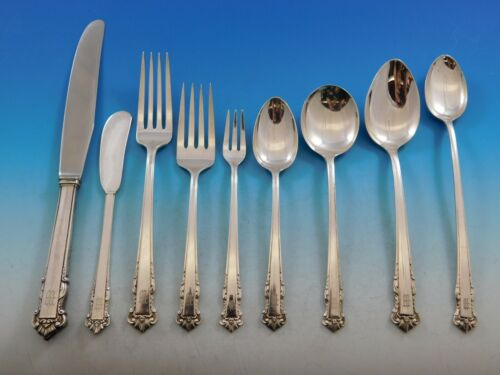 English Shell by Lunt Sterling Silver Flatware Set Service 84 pcs M Monogram