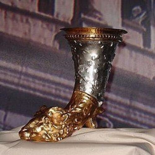 ANTIQUE SILVER & GOLD WAX GUILDING RAM HORN ROMAN GREEK GRAND TOUR CUP CHALICE