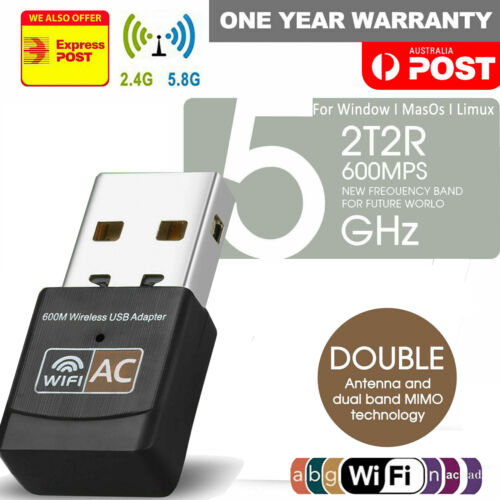 Dual Band 600Mbps USB WiFi Wireless Dongle AC600 Lan Network Adapter 2.4GHz 5GHz