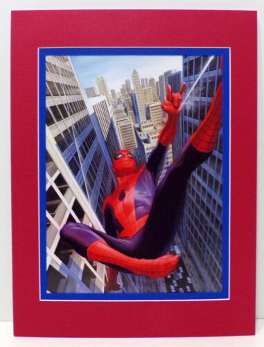 AMAZING SPIDER-MAN Swinging PRINT PROFESSIONALLY MATTED Alex Ross art