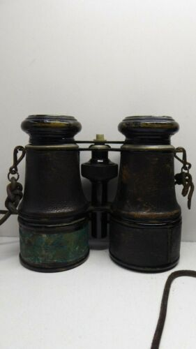 ANTIQUE BINOCULARS BRASS & LEATHER FIELD GLASSES WW1 ERA