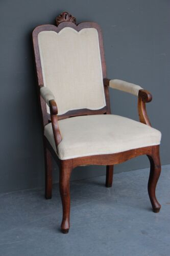 Antique Provincial armchair french rococo carved oak fauteuil chair 1850 Patina