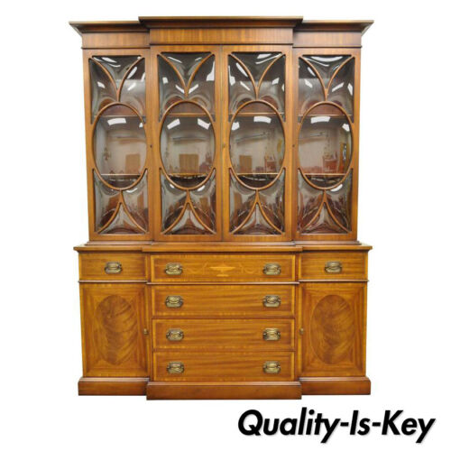 Georgian Style Bubble Glass Satinwood Inlay Mahogany Bookcase Breakfront Cabinet
