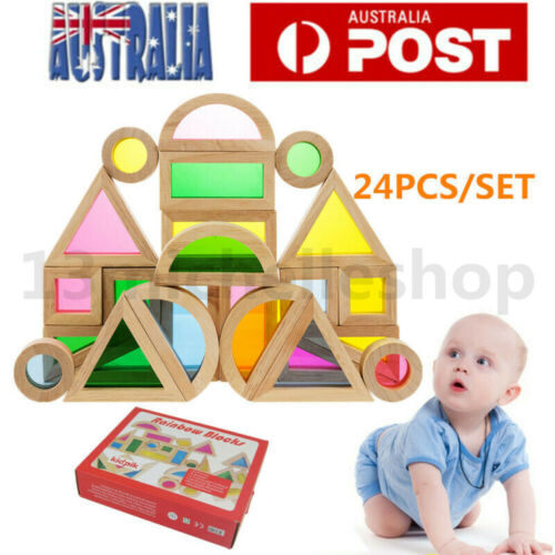 24pcs Wooden Rainbow Blocks Education Toy Construction Building Stacking Blocks